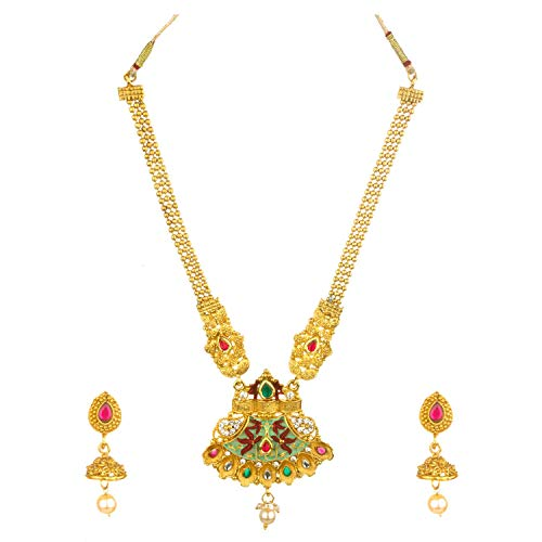 Archi Collection Ethnic Bridal Traditional Temple Necklace Earring Jewellery Set
