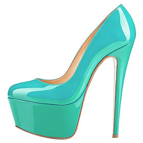 Platform Shoes Heels High Stiletto Green Joogo Pumps Toe Dress Round Size 5 Women w4wnxzt