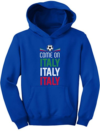 Tstars - Come On Italy - Soccer Fans Youth Hoodie Medium Blue
