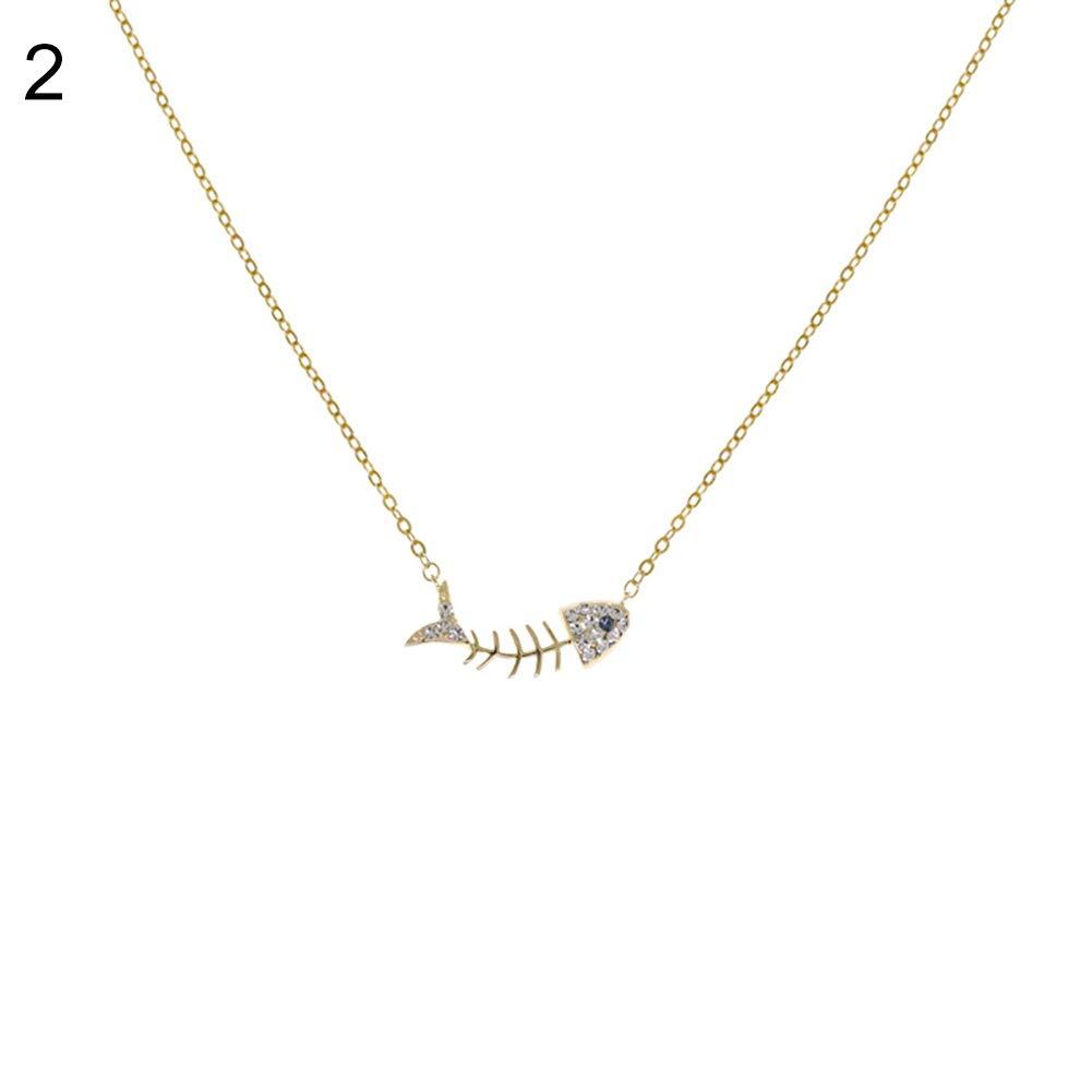 ywbtuechars Exquisite Fishbone Pendant Rhinestone Inlaid Collarbone Necklace Jewelry Decor - Golden