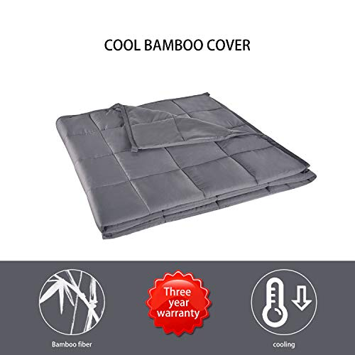 Cheap ELECWISH Cooling Weighted Blanket with 100% Bamboo Viscose (20 lbs 60 x80 ) 2.0 Grey Large Size Heavy Blanket with Glass Beads for Adults Black Friday & Cyber Monday 2019