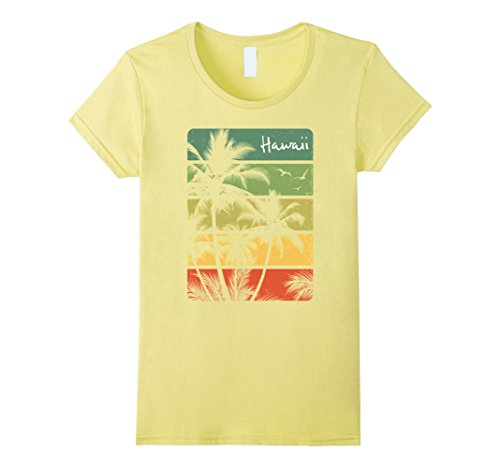 Womens Vintage Hawaiian Islands Tee Hawaii Aloha State T Shirt Small Lemon