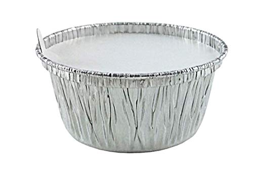 Aluminum Foil Disposable Baking Ramekins - Cupcake (4 oz.) Muffin Liners Mini Baking Cups with Lids for Hot and Cold Foods - Made in USA (Pack of 50)