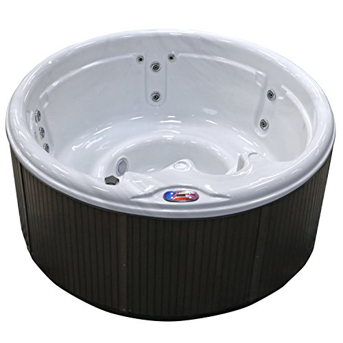 American Spas AM-511RS 5-Person 11-Jet Round Spa with Multi Color Spa Light, Sterling and Smoke