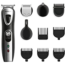 SUPRENT Multi-function Beard Trimmer, 5-in-1 Professional Men's Body Grooming Kit with Mustache Trimmer, Nose Hair Trimmer and 5 Guide Combs, Rechargeable Cordless (Black)