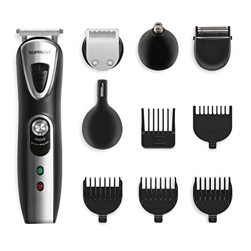 Price comparison product image SUPRENT Multi-function Beard Trimmer, 5-in-1 Professional Men's Body Grooming Kit with Mustache Trimmer, Nose Hair Trimmer and 5 Guide Combs, Rechargeable Cordless (Black)