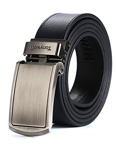 Tonywell Mens Genuine Leather Ratchet Belts with Distinctive Buckle Fashion Colors Custom Fit (One Size:32