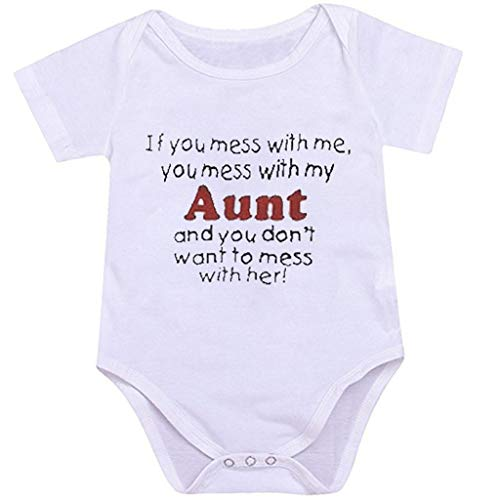 RoDeke Summer Newborn Infant Baby Girls Boys Bodysuit Short Sleeve Letter Print Romper Outfits Set 0-24M White