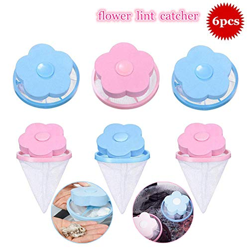 Flower-type Washing Machine Floating Lint Mesh Bag Hair Filter Net Pouch,Reusable Hair Remover Tool for Washing Machine,6Pieces (3Blue+3Pink) (Best Type Of Washing Machine)
