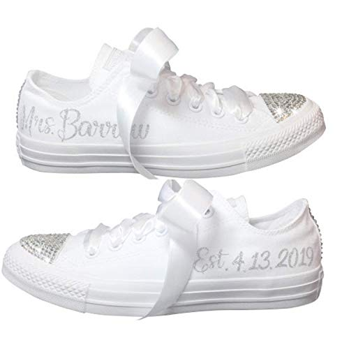 d1a8b388a3f6a2 Amazon.com  Wedding Sneakers BLINGED OUT Personalized CHUCKS with Swarovski  Crystals Custom for Quinceañera or Prom  Handmade
