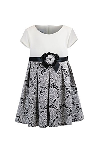- Bonnie Jean Girls' Short Sleeve Floral Knit Dress, Black/White, 3T