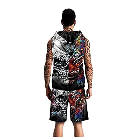 RZBB T-shirts 2019 Vest Shorts Boys Young People Hip Hop Loose Skull Digital Printing Mens Vest Shorts Casual Suit