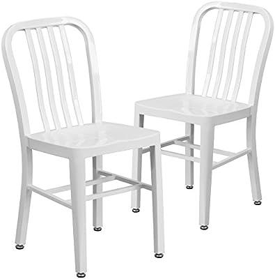 Pleasing Flash Furniture 2 Pk White Metal Indoor Outdoor Chair Andrewgaddart Wooden Chair Designs For Living Room Andrewgaddartcom