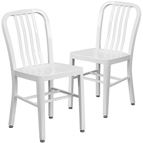 Flash Furniture 2 Pk. White Metal Indoor-Outdoor ()