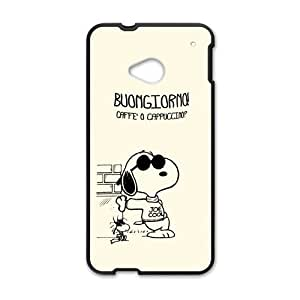 Pink Peanuts Snoopy Vintage CharacterCustom Cover Case for HTC One M7(Laser Technology)