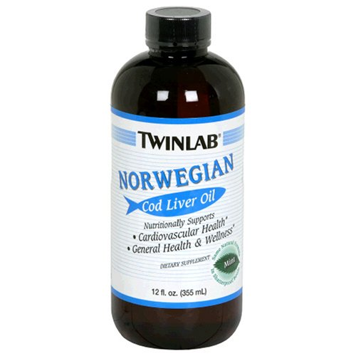 Twinlab Norwegian Cod Liver Oil, Mint, 12 Fluid Ounce (355 ml) (Pack of 3) by Twinlab