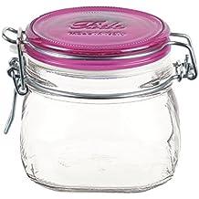 Bormioli Rocco Fido Square Jar with Fuchsia Lid, 17-1/2-Ounce
