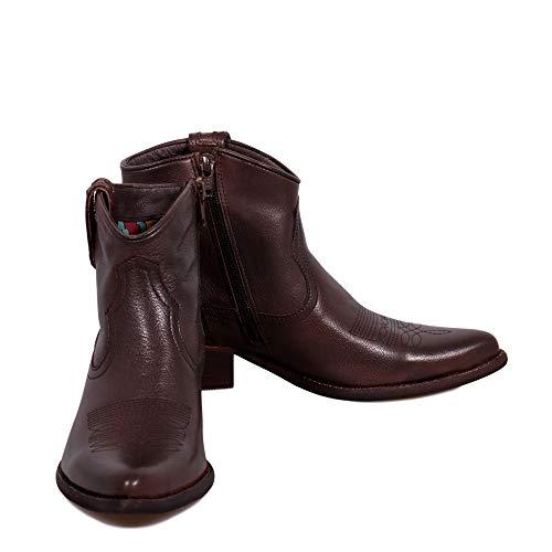 Cuir Felmini Foncé Avec amp; Bottines West En Marron Véritable B504 Tomber Chaussures Biker Femme Amour Cowboy TqrTZ7