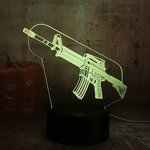 LQZN 2019 New Boy Cool 3D Led Night Light Pubg Submachine Gun Boy Gift 7 Color for USB Table Lamp