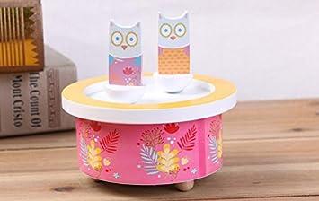 YOIL Regalo Exquisito y Elegante Artesanías de Madera de Dibujos Animados Giratorio Music Box Adornos para niños Regalo de cumpleaños-Rose Owl: Amazon.es: ...