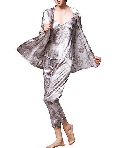 Lunga Kimono donne Coppia Manica Inverno Pigiama Grigio Cintura Accappatoio Satin Seta vxwnP1aP