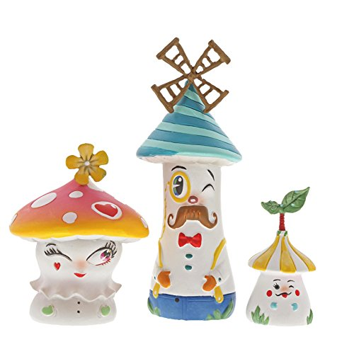 Enesco The The World of Miss Mindy Lil Mushies Stone Resin Figurine Set, 4.5 , Multicolor