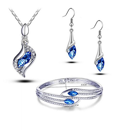 (Trendy Women Crystal Pendant Necklace & Hook Dangle Earrings & Bangle Set (PAT2))