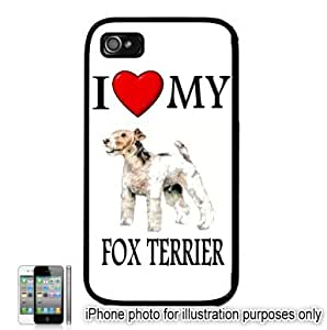 Fox Terrier I Love My Dog Apple iPhone 4 4S Case Cover Black