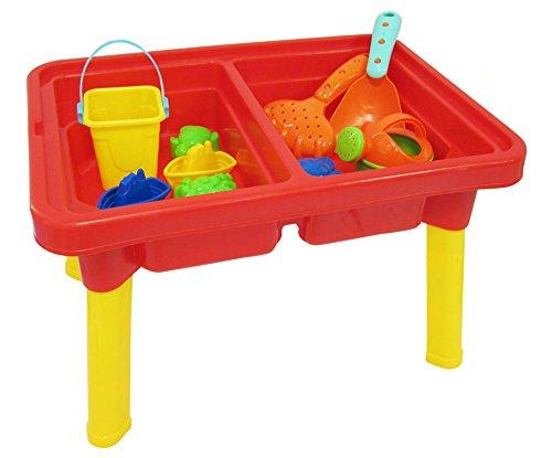 2-in-1 Sandkastentisch zum Spielen mit Sand und Wasser - Mit Deckel und 9 Teilen
