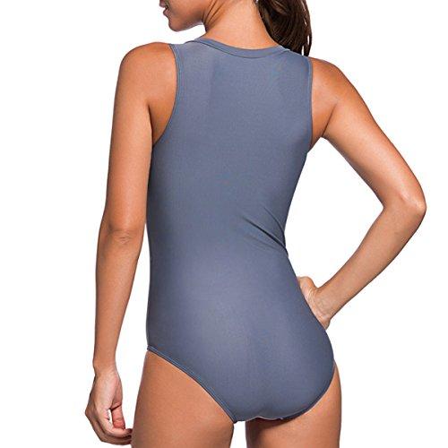 Women's U Neck Backless One Piece Bathing Swimsuit Sexy Stripe Swimwear