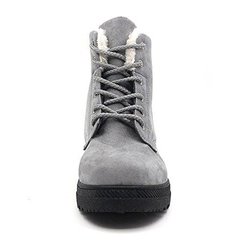 Scarpe Sneaker A Piattaforma Piatta In Pelle Scamosciata E Stivali Da Neve In Cotone Con Lacci Invernali In Velluto Grigio