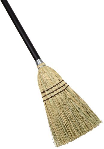 "Rubbermaid Commercial FG637300 Corn Fiber Lobby Broom, 1-1/2"" Head Width, 38"" Overall Length, Brown Bristles, Black Handle"