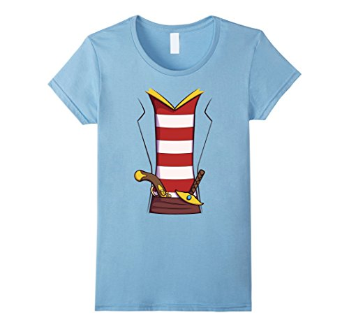 Female Pirate Outfit Ideas (Womens Pirate Costume T-Shirt for Halloween Buccaneer Cosplay Tee Medium Baby Blue)