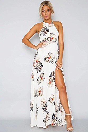 Hombro XINGMU Vestido Blanco Dobladillo Floral De Slit Mujer De Vestido nTqXOwBxT4