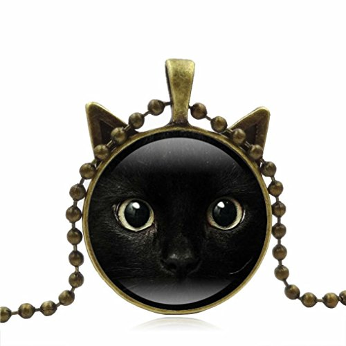 Personalized Necklace, Botrong Cute Black Cat Art Picture Pendant Statement Chain Necklace (Gold) (Memorial Gold Coin)