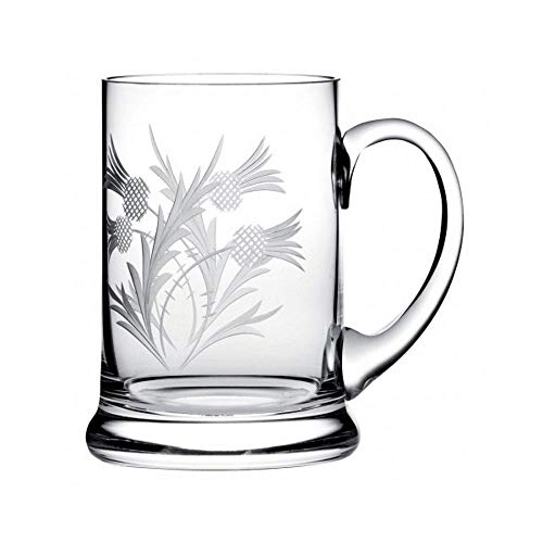 Royal Scot Crystal 1 Pint Tankard in Flower of Scotland Thistle Design | Scottish Crystal Beer Glass with Presentation Box