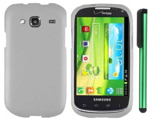 Samsung Godiva (SCH-i425) - White Premium Design Protector Hard Cover Case (Verizon) + Combination 1 of New Metal Stylus Touch Screen Pen (4