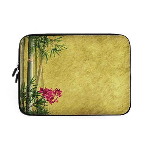Bamboo Laptop Sleeve Bag,Neoprene Sleeve Case/Wild Orchides with Bamboo Leaves on Old Antique Paper Floral Asian Style Art/for Apple MacBook Air Samsung Google Acer HP DELL Lenovo AsusYellow