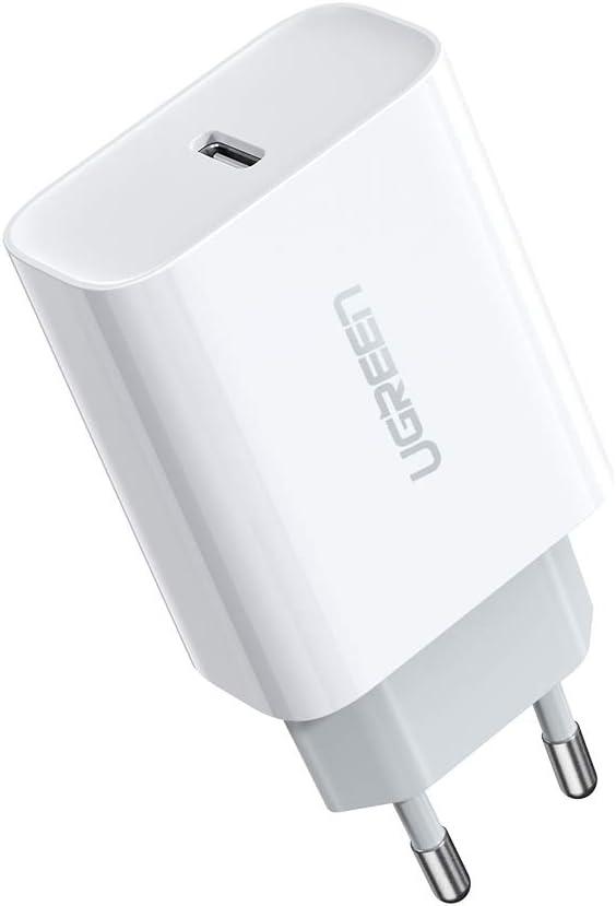 UGREEN 18W Cargador USB Tipo C Power Delivery 3.0, Cargador de Carga Ultrarapida QC 4.0/QC 3.0 para iPad Pro 2018 2020, iPhone 9, 11, XS, XR, X, Xiaomi Redmi Note 7, Redmi Note 8, Nuevo Airpods Pro