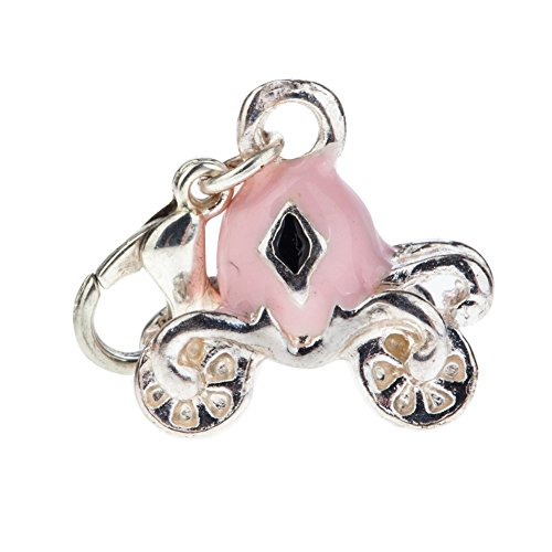 Fabulous Silver And Pink Colored Magic Pumpkin Carriage Shaped Clip On Pendant Charm For Bracelets Bangles By VAGA©