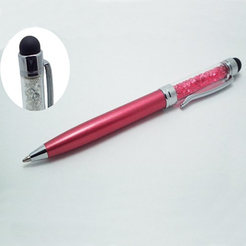 Xtra-Funky Exclusive High Quality Universal Capacitive Soft Rubber Tip Stylus & BallPoint Pen Combo With Coloured Crystal shaft Ideal For All Types OF Touch Screen Devices / iPad 1 2 3 Mini / iPhone 3 4 5 / Samsung / Nokia / BlackBerry / Kobo / Tablets and many more - HOT PINK