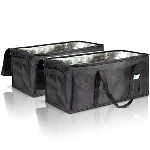KIBAGA Premium Insulated Food Delivery Bags Set of 2 - Waterproof Restaurant Delivery Bags 22'' x 10'' x 10'' - Perfect Commercial Food Warmer Bags to Bring Hot/Cold Food Home by KIBAGA