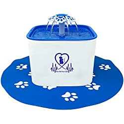 Pet Fit For Life Water Fountain Dispenser Plus Bonus Cat Wand and Mat - 2 Liter Super Quiet Automatic Water Bowl with Charcoal Filter for Dogs, Cats, Birds and Small Animals
