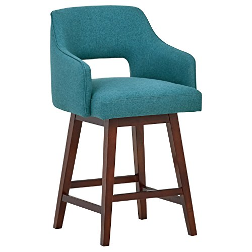 Hardwood Swivel Bar Stools - Rivet Malida Mid-Century Modern Kitchen Counter Open Back Padded Swivel Bar Stool with Arms, 37 Inch Height, Aqua Blue, Wood