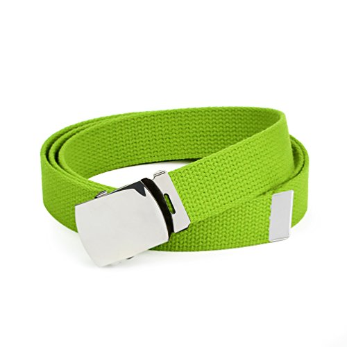 Hold'Em Military Canvas Webbing Belts for MEN'S–Polished Silver Buckle – Universal Heavy Duty Adjustable KEEP PANTS SNUG WITHOUT IRRITATING your skin-Lime Green