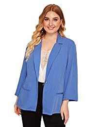 Romwe Women's Plus Single Button Notch Collar Solid Blazer