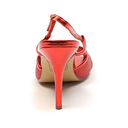 BLU SHU Shoe Sandal Faux Leather Glitter Red dDsyXef