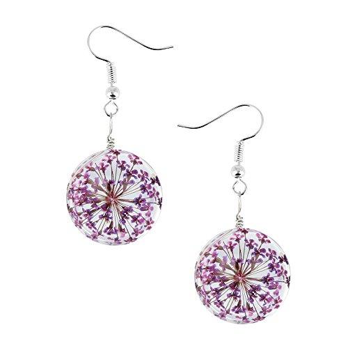 Deargles Crystal Jewlry Pressed Flower Earrings - Glass Pressed Pair