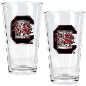 NCAA South Carolina Fighting Gamecocks Pint Ale Glass Set (2-Piece)