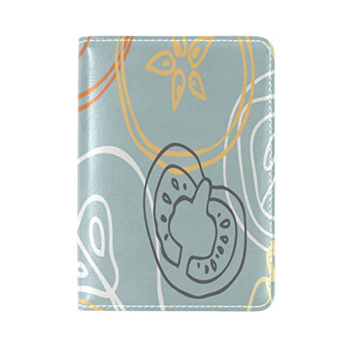 Passport Cover Case Vegetable Natural Organic Hand Drawn Design Creative Leather&microfiber Multi Purpose Print Passport Holder Travel Wallet For Women And Men 5.51x3.94 In
